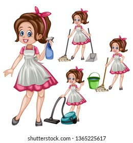 Cartoon Illustration Set of a Cute Retro Housewife in Different Positions Isolated on White Background. Beautiful House Cleaner Holding  Floor Mop, Spray Bottle, Dust Stick, Vacuum Cleaner