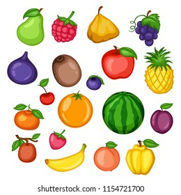 Cartoon Illustration Set of Different  Fruits and Berries. Pear, Strawberry, Watermelon, Grape, Kiwi, Apple, Pineapple, Mandarin, Orange, Cherry, Raspberry, Huckleberry, Plum, Quince, Banana, Peach