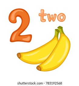 Cartoon Illustration Set of Flashcard with Fruits and Numbers. Number Two with Bananas