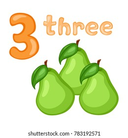 Cartoon Illustration Set of Flashcard with Fruits and Numbers. Number Three with Pears