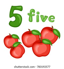 Cartoon Illustration Set of Flashcard with Fruits and Numbers. Number Five with Apples