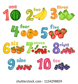 Cartoon Illustration Set of Fruit Flashcards with Numbers. Number One to Ten with Watermelon, Banana, Pears, Oranges, Apple, Mandarin, Cherries, Dewberry, Raspberry, Huckleberry