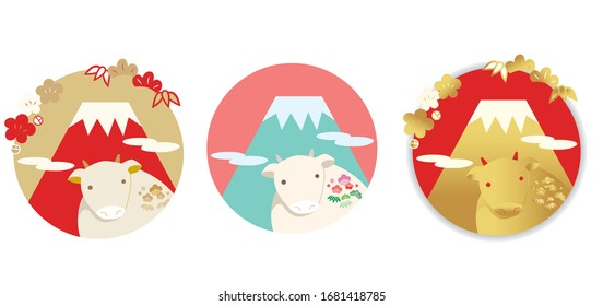 Cartoon illustration set for New Year's card with cow figurine and Mt. Fuji background.