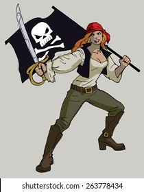 Cartoon illustration of sexy lady pirate holding a saber and a pirate flag with skull and bones