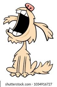 Cartoon Illustration of Shaggy Little Dog Animal Character Barking or Howling