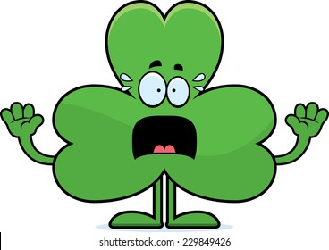 A cartoon illustration of a shamrock looking scared.