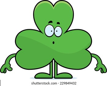 A cartoon illustration of a shamrock looking surprised.