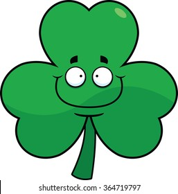 Cartoon illustration of a shamrock with a wide smile.