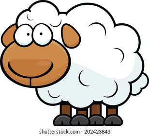 Cartoon illustration of a sheep with a blank expression.