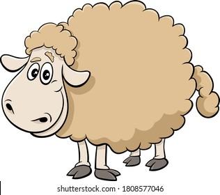 Cartoon Illustration of Sheep Farm Animal Comic Character