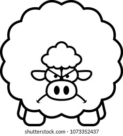 A cartoon illustration of a sheep looking angry.