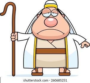 A cartoon illustration of a shepherd looking sad.