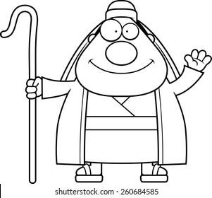 A cartoon illustration of a shepherd waving.