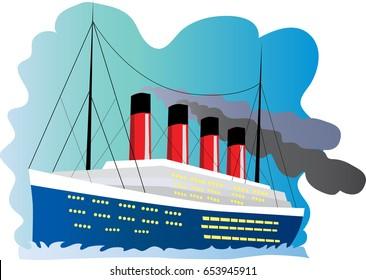 A cartoon illustration of the ship Titanic
