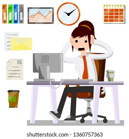 Cartoon illustration - shocked woman with white shirt and tie holding her head and screaming. Problem and stress at work in the office. computer failure error. Flat Icon set - schedule, file document