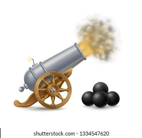Cartoon illustration of shooting cannon with cannonballs, weapon icon, EPS 10 contains transparency.