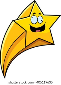 A cartoon illustration of a shooting star with a crazy expression.