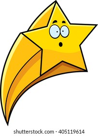 A cartoon illustration of a shooting star looking surprised.