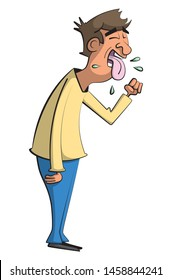 Cartoon illustration of a sick man coughing with his tongue out while spitting germs and holding his hand in front of his mouth.