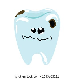 Cartoon illustration of a sick tooth. Caries on teeth. Hygiene of the oral cavity. Drawing for children.