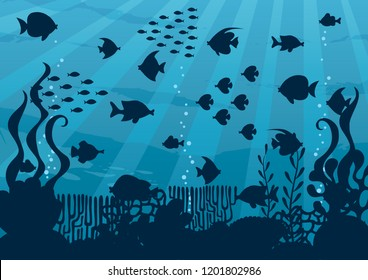 Cartoon illustration of silhouette underwater world with corals and fish.
