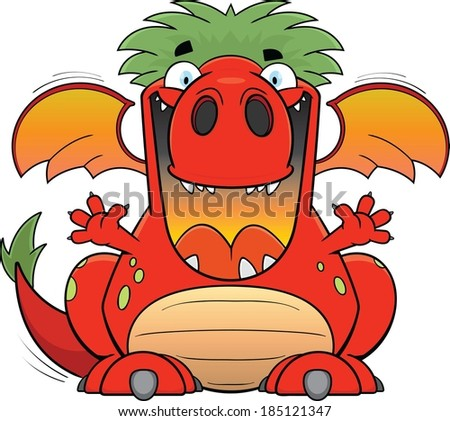Cartoon illustration of a silly red dragon.