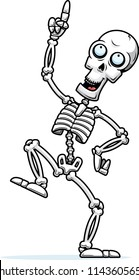 A cartoon illustration of a skeleton dancing around.
