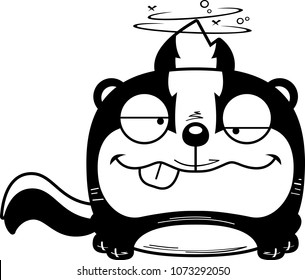 A cartoon illustration of a skunk with a goofy expression.