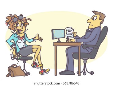 Cartoon illustration with sloppy and untidy woman on job interview