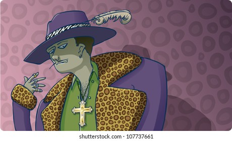 Cartoon illustration of a sly, sinister-looking pimp on a pink leopard skin background.