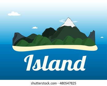 Cartoon illustration of the small mountains island landscape in the ocean.