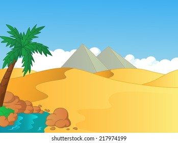 Cartoon illustration of small oasis in the desert
