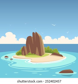 Cartoon illustration of the small tropical island in the ocean.