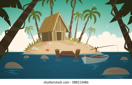 Cartoon illustration of the small tropical island with wooden cabin and pier.