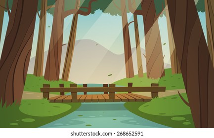 Cartoon illustration of the small wooden bridge in the woods, summer landscape.
