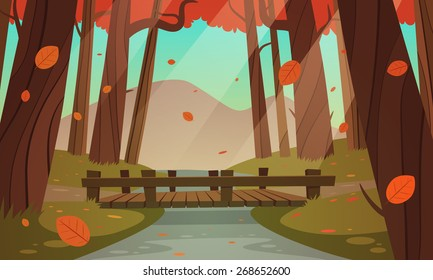 Cartoon illustration of the small wooden bridge in the woods, autumn landscape.