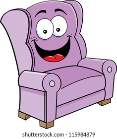 Cartoon illustration of a smiling chair