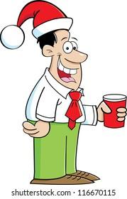 Cartoon illustration of a smiling man wearing a Santa hat
