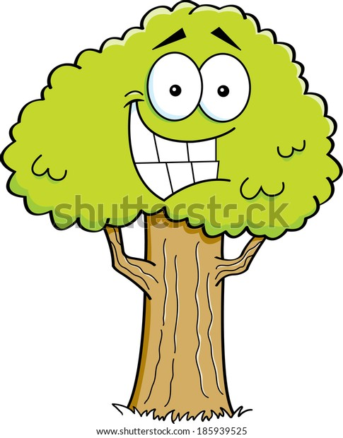 Cartoon illustration of a smiling tree.