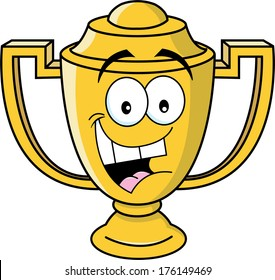 Cartoon illustration of a smiling trophy cup.