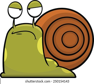 Cartoon illustration of a snail with a grumpy expression.