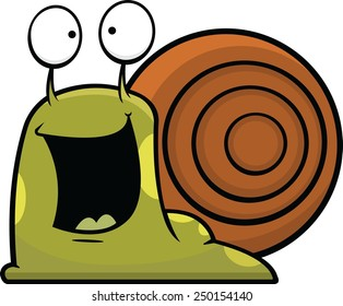 Cartoon illustration of a snail with a happy expression.