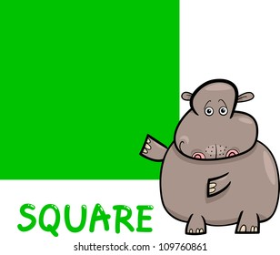 Cartoon Illustration of Square Basic Geometric Shape with Funny Hippo Character for Children Education