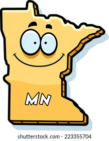 A cartoon illustration of the state of Minnesota smiling.