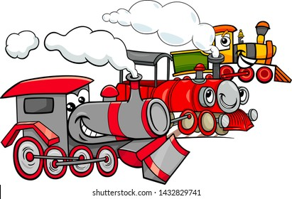 Cartoon Illustration of Steam Engine Locomotive Transport Characters Group
