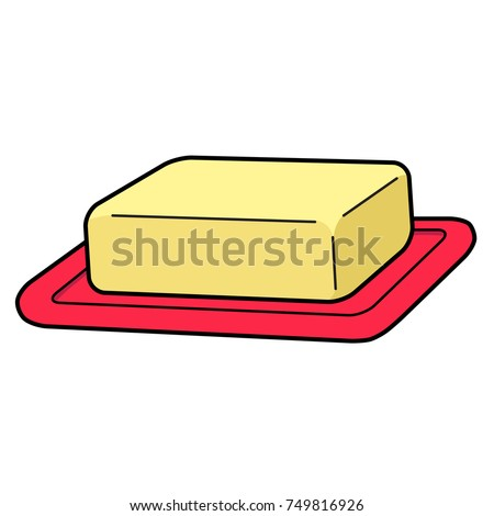 Cartoon illustration of a stick of butter in a butter dish