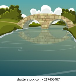 Cartoon illustration of the stone bridge over the river.