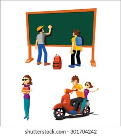 cartoon illustration of students