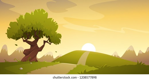 Cartoon illustration of the summer countryside landscape. Sunset in the valley with mountain in background.