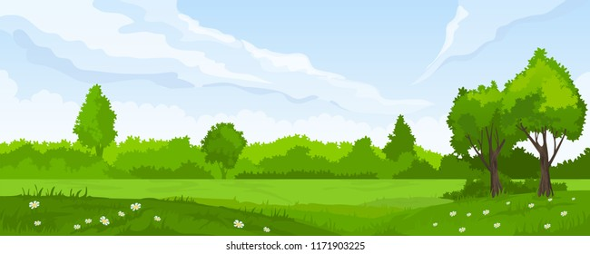 Cartoon illustration of summer landscape with fields and green hills